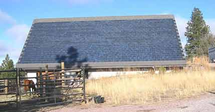 Solar shingles on a barn