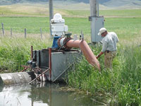 Pump and irrigation ditch