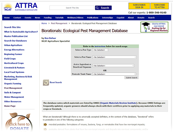 ATTRA's biorationals: ecological pest management database