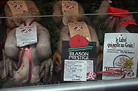 Label Rouge poultry in a butchershop
