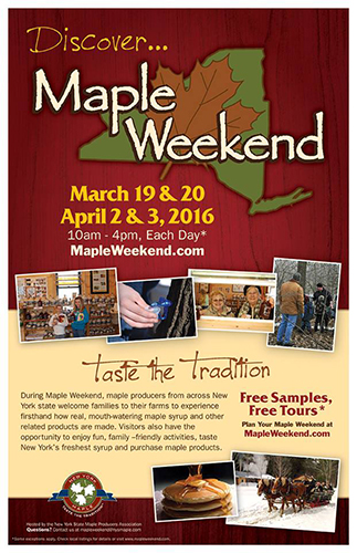 maple weekend flyer, marketing maple syrup