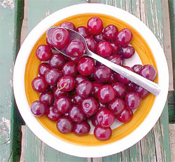 Tart cherries in a bowl