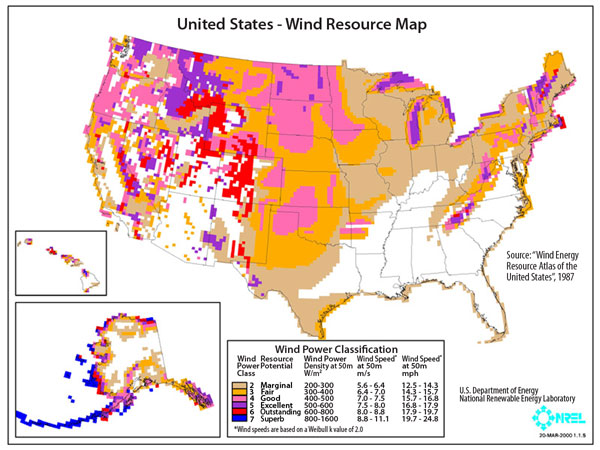United States Wind Resource Map.