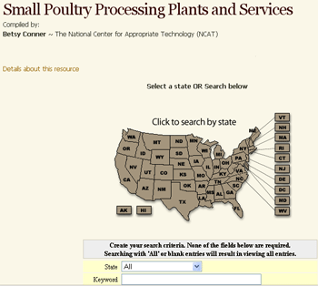 ATTRA's online poultry processing directory