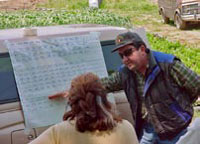 NCAT Specialist Martin Guerena works with some farmers.