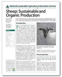 Sheep: Sustainable and Organic Production