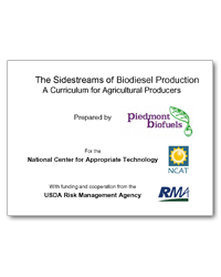 The Sidestreams of Biodiesel Production a Curriculum for Agricultural Producers