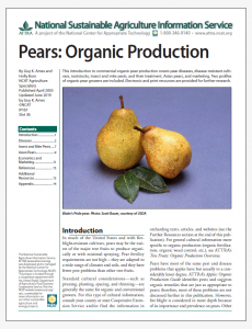 Pears: Organic Production