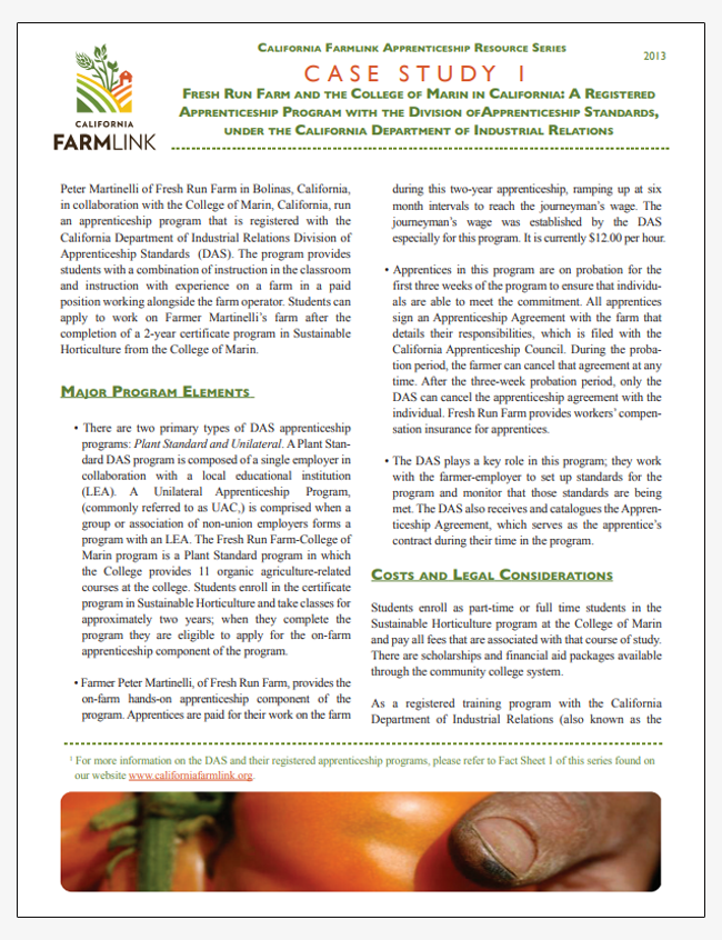 Case Studies and Fact Sheets for Labor Laws on California Small Farms