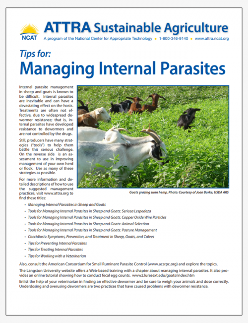 Tips for: Managing Internal Parasites