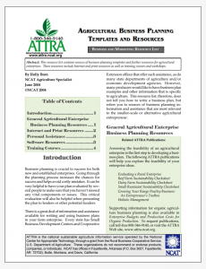 Agricultural Business Planning Templates and Resources