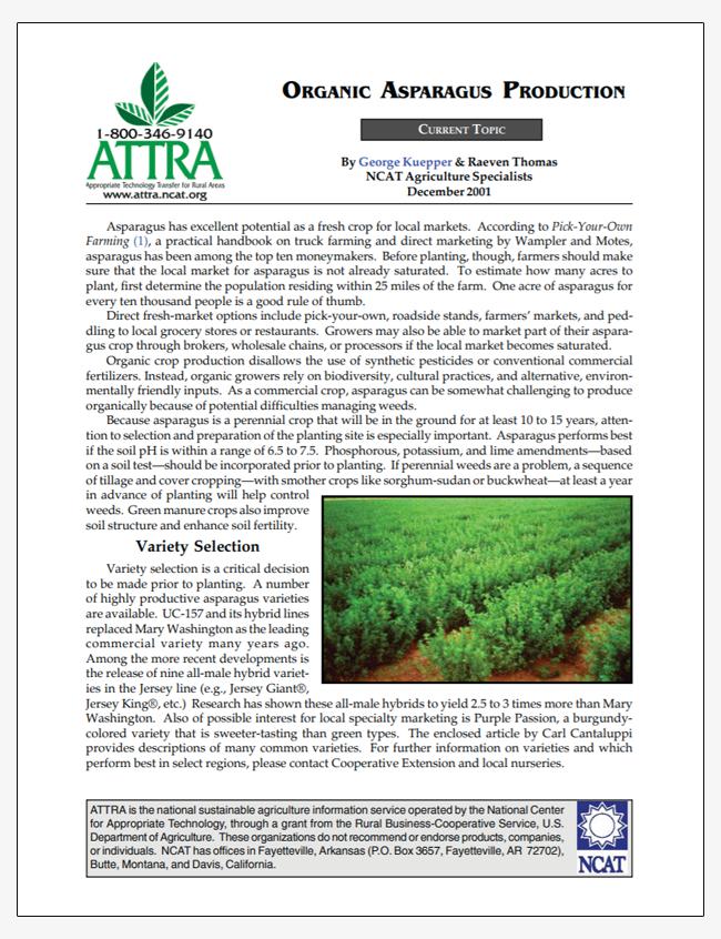 Organic Asparagus Production