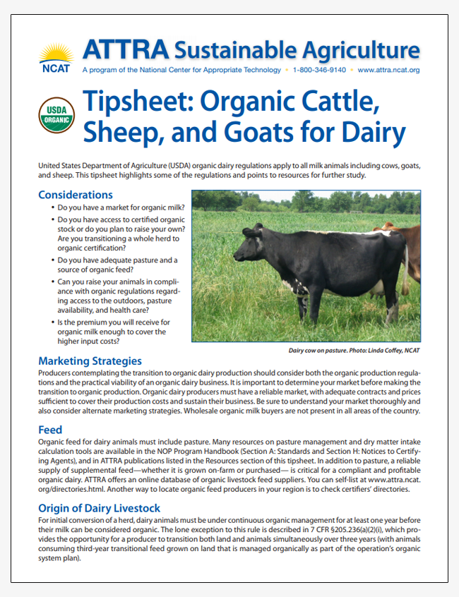 Tipsheet: Organic Cattle, Sheep, and Goats for Dairy