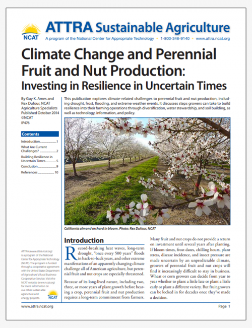 Climate Change and Perennial Fruit and Nut Production: Investing in Resilience in Uncertain Times