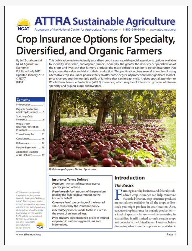 Crop Insurance Options for Specialty, Diversified, and Organic Farmers
