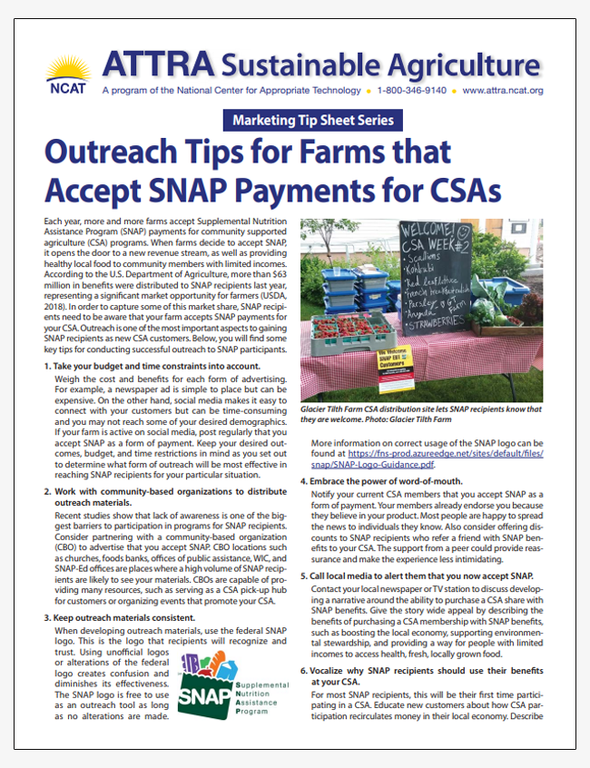 Marketing Tip Sheet: Outreach Tips for Farms that Accept SNAP Payments for CSAs