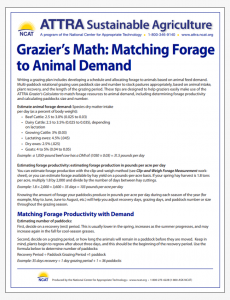 Grazier's Math: Matching Forage to Animal Demand