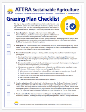 Grazing Plan Checklist