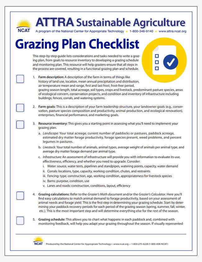 Grazing Plan Checklist