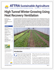 High Tunnel Winter Growing Using Heat Recovery Ventilation