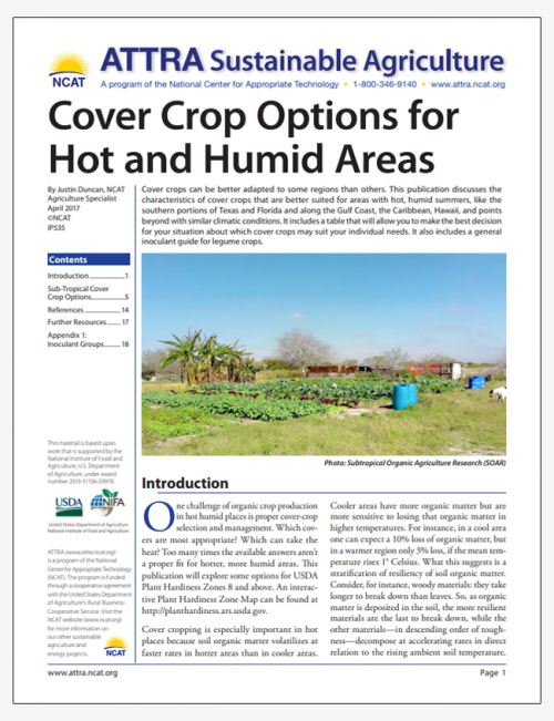 Cover Crop Options for Hot and Humid Areas