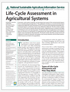 Life-Cycle Assessment in Agricultural Systems