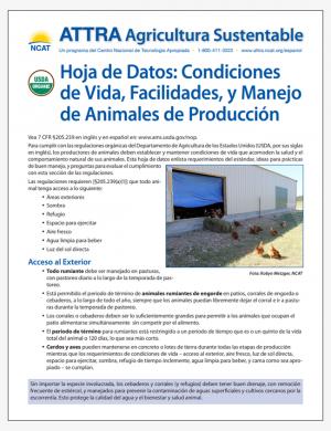 Hoja de Datos: Condiciones de Vida, Facilidades, y Manejo de Animales de Produccion