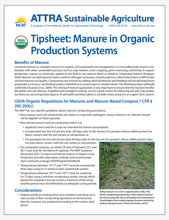 Tipsheet: Manure in Organic Production Systems