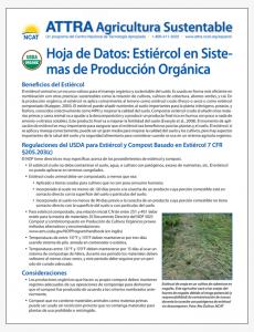 Hoja de Datos: Estiercol en Sistemas de Produccion Organica