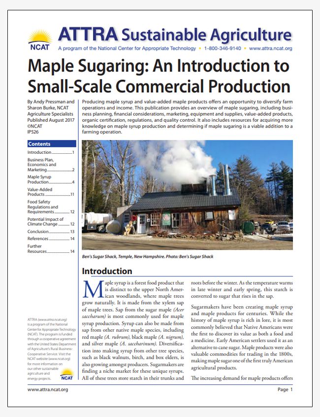 Maple Sugaring: An Introduction to Small-Scale Commercial Production