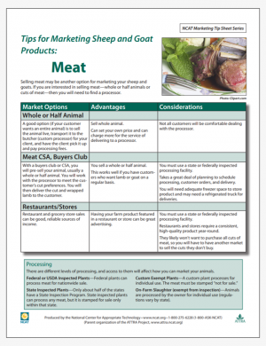 Tips for Marketing Sheep and Goat Products: Meat