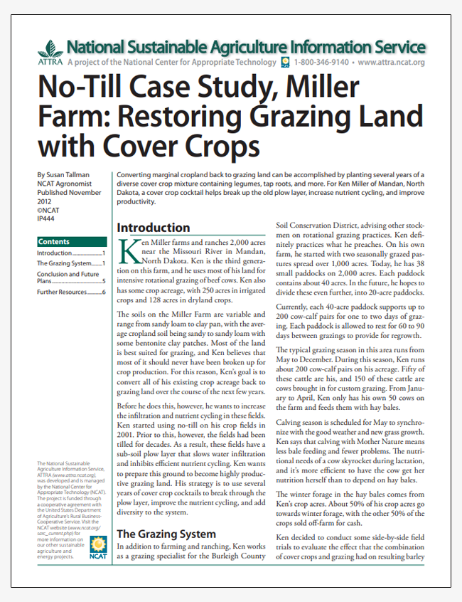 No-Till Case Study, Miller Farm: Restoring Grazing Land with Cover Crops