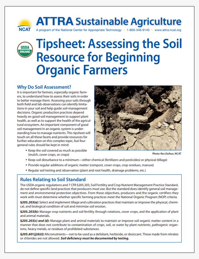 Tipsheet: Assessing the Soil Resource for Beginning Organic Farmers
