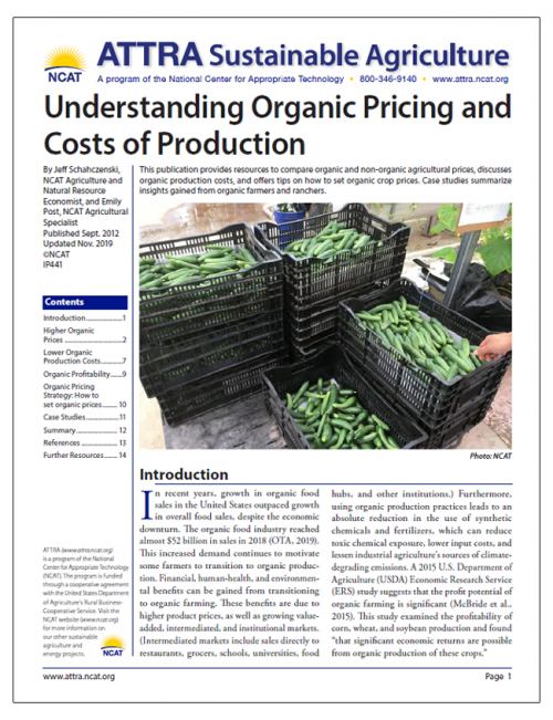 Understanding Organic Pricing and Costs of Production