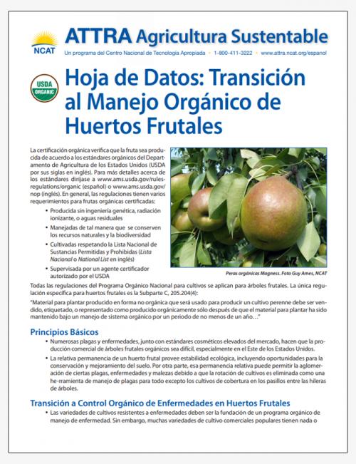 Hoja de Datos: Transición al Manejo Orgánico de Huertos Frutales