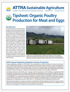 Tipsheet: Organic Poultry Production for Meat and Eggs