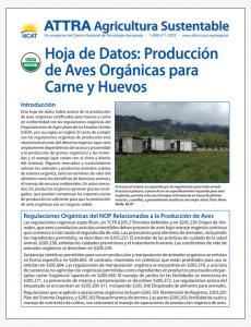 Hoja de Datos: Produccion de Aves Organicas para Carne y Huevos