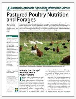 Pastured Poultry Nutrition and Forages