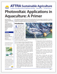 Photovoltaic Applications in Aquaculture: A Primer