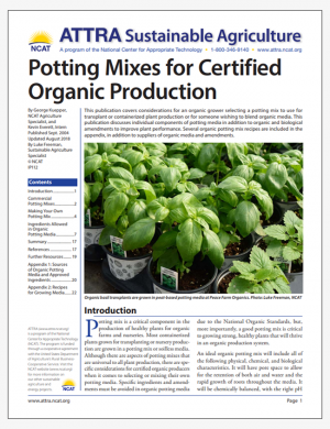 Potting Mixes for Certified Organic Production