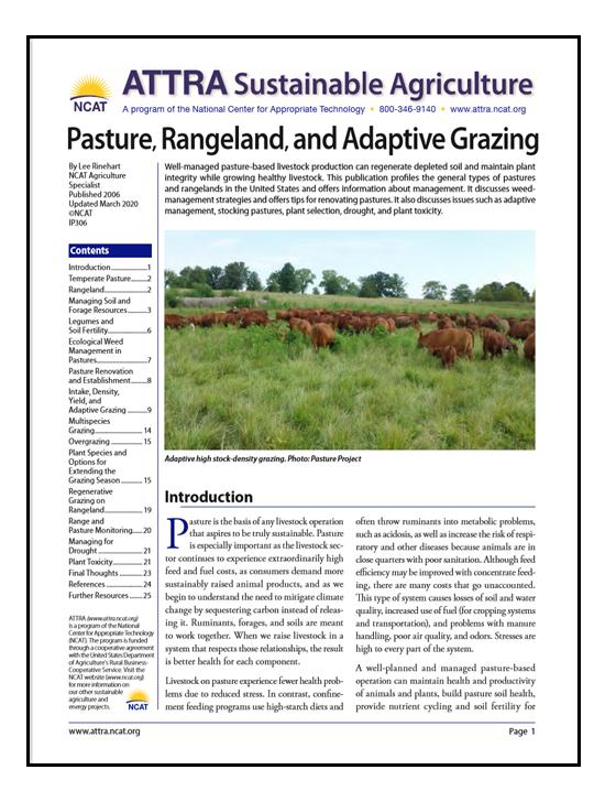 Pasture, Rangeland, and Adaptive Grazing