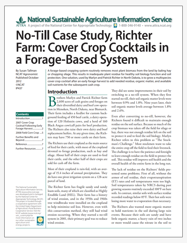 No-Till Case Study, Richter Farm: Cover Crop Cocktails in a Forage-Based System
