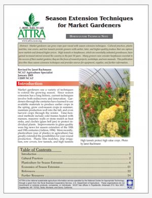 Season Extension Techniques for Market Gardeners