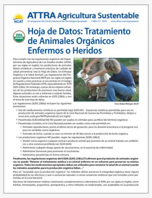 Hoja de Datos: Tratamiento de Animales Organicos Enfermos o Heridos