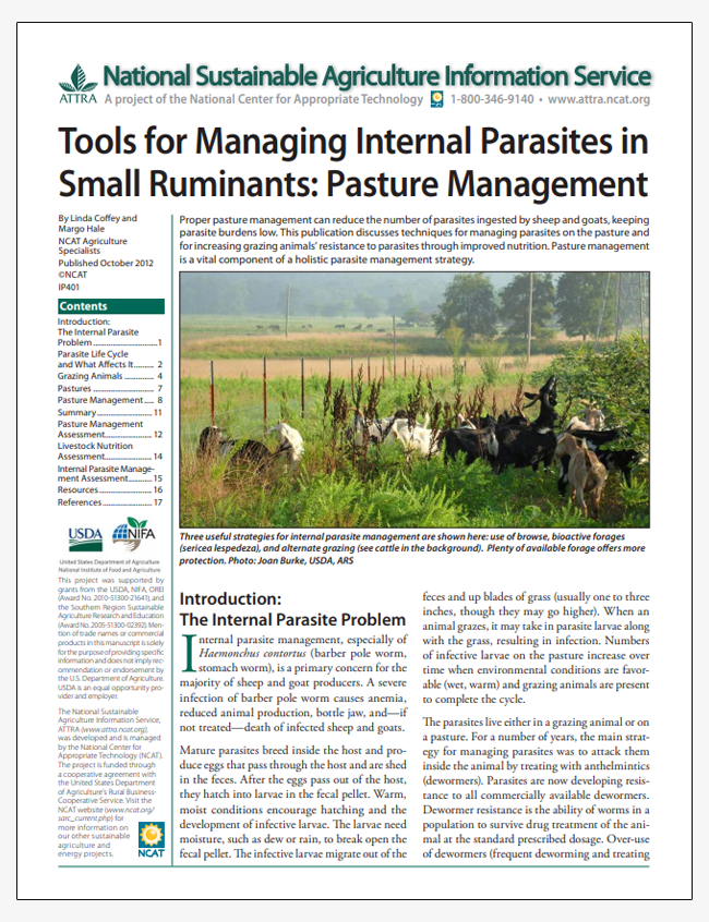 Tools for Managing Internal Parasites in Small Ruminants: Pasture Management