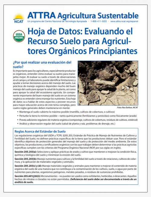 Hoja de Datos: Evaluando el Recurso Suelo para Agricultores Orgánicos Principiantes