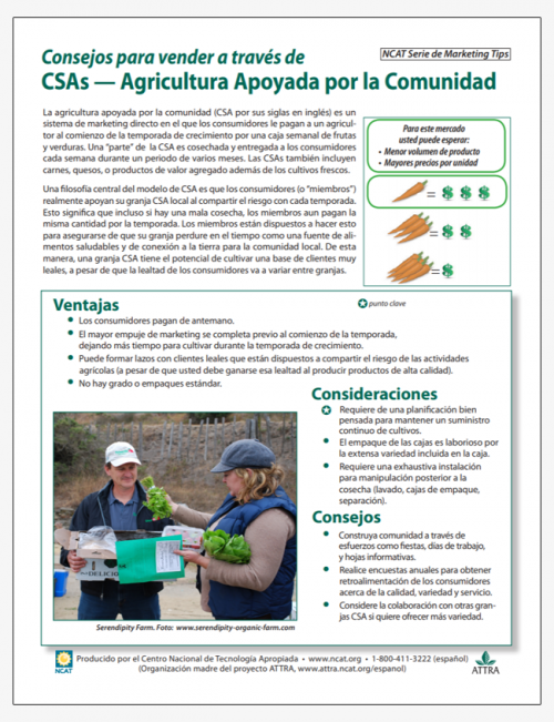 Consejos para vender a través de CSAs — Agricultura Apoyada por la Comunidad