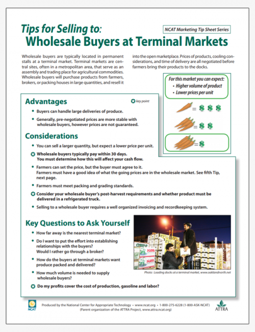 Tips for Selling to: Wholesale Buyers at Terminal Markets