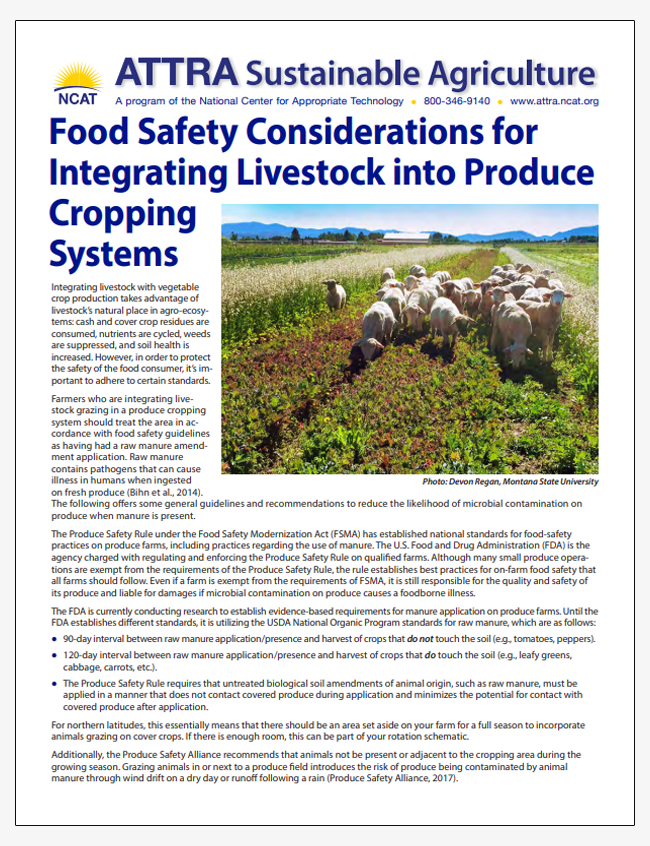 Food Safety Considerations for Integrating Livestock into Produce Cropping Systems