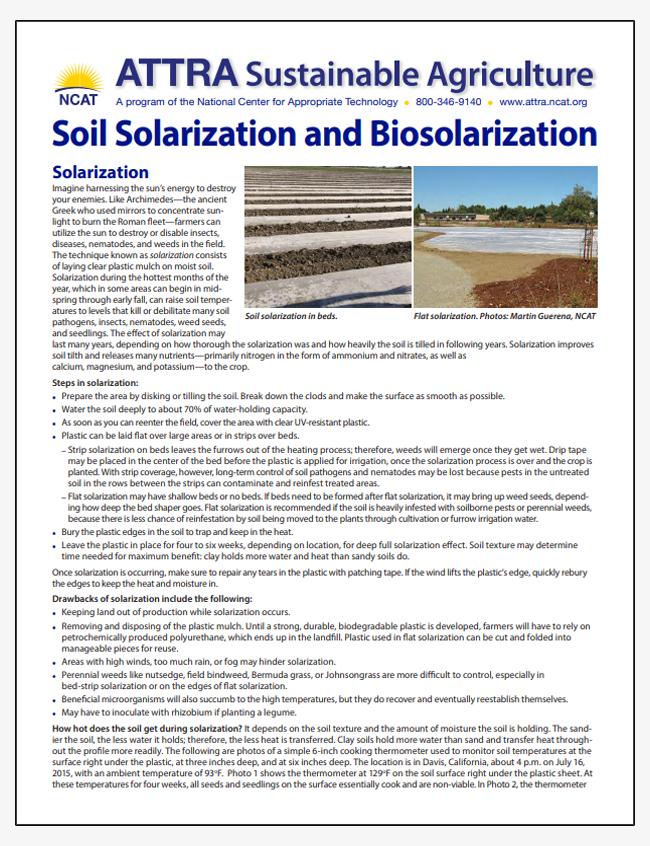 Soil Solarization and Biosolarization - Tipsheet